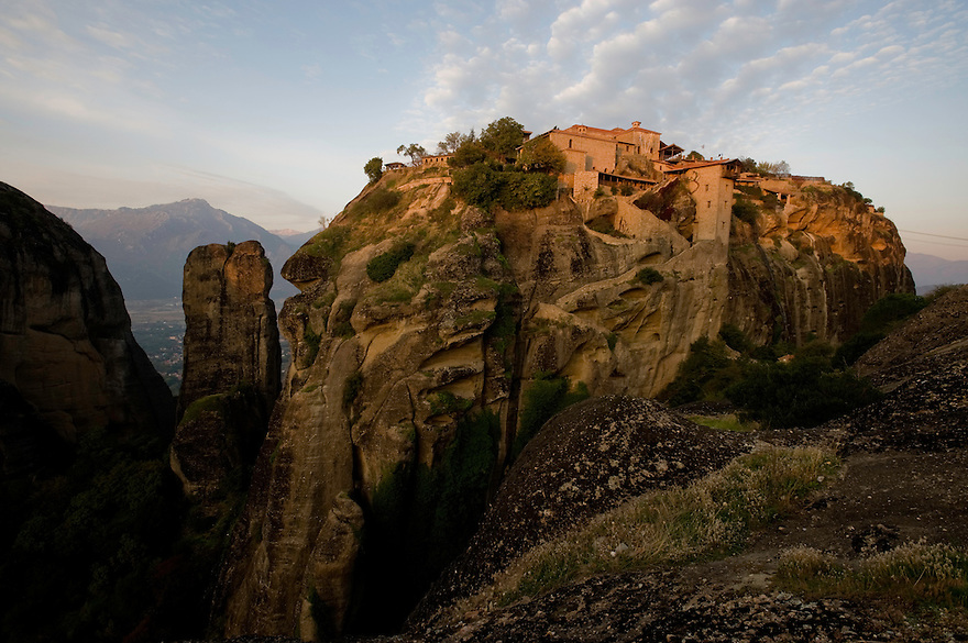 Greece, Meteora, Great Meteoron Monastery in sunrise