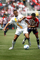 20 May 2007: Galaxy #14 Tyrone Marshall keeps the ball away from Maykel Galindo  during a 1-1 tie for MLS Chivas USA vs. Los Angeles Galaxy pro soccer teams at the Home Depot Center in Carson, CA.
