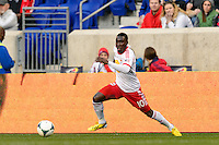 Lloyd Sam (10) of the New York Red Bulls. The New York Red Bulls defeated the Chicago Fire 5-2 during a Major League Soccer (MLS) match at Red Bull Arena in Harrison, NJ, on October 27, 2013.