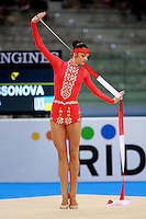 Anna Bessonova of Ukraine holds beginning pose with ribbon during seniors All-Around competition at 2008 European Championships at Torino, Italy on June 6, 2008.  Photo by Tom Theobald.