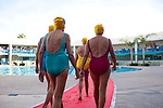 Members of the Sun City Aqua Suns, a synchronized swim team made up of retirees, walk a red carpet at the Lakeview Recreation Center before a performance at the Holiday Around the World celebration in Sun City, Arizona December 10, 2010...2010 marks the 50th anniversary of Sun City, America's first retirement city that remains the largest today with more than 40,000 residents 55 and older.