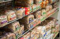 Packages of various brands of bread are seen in a supermarket in New York on Tuesday, February 25, 2014. U.S. producer prices rose in January 2014, spurred on by higher food prices which jumped 1 percent. (© Richard B. Levine)