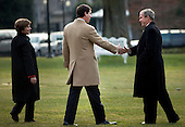 Washington, DC - January 10, 2009 -- United States First Lady Laura Bush (L) watches as US President George W. Bush (R) greets his son-in-law Henry Hager, married to Jenna, while walking to Marine One on the South Lawn of the White House January 10, 2009 in Washington, DC.  President Bush is traveling to Norfolk, Virginia to attend a commissioning ceremony for the George H.W. Bush (CVN 77), an aircraft carrier named for his father.  .Credit: Brendan Smialowski - Pool via CNP