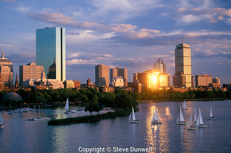 back bay skyline sunset boston ma steve dunwell photography boston. Black Bedroom Furniture Sets. Home Design Ideas