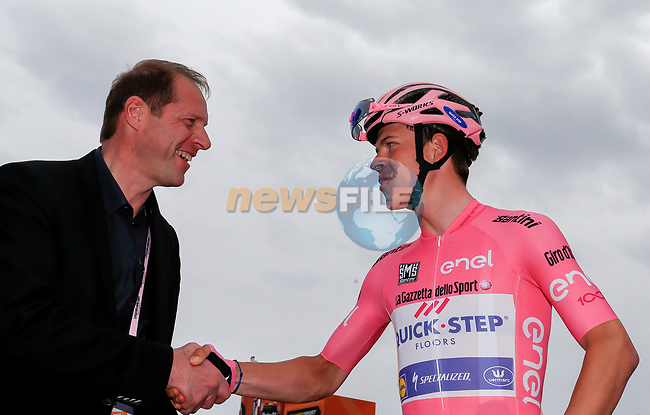 Tour de France Race Director Christian Prudhomme chats to race leader Bob Jungels (LUX) Quick-Step Floors at sign on before the start of Stage 6 of the 100th edition of the Giro d'Italia 2017, running 217km from Reggio Calabria to Terme Luigiane, Italy. 11th May 2017.<br /> Picture: LaPresse/Simone Spada | Cyclefile<br /> <br /> <br /> All photos usage must carry mandatory copyright credit (&copy; Cyclefile | LaPresse/Simone Spada)