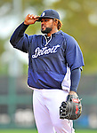 9 March 2012: Detroit Tigers first baseman Prince Fielder warms up prior to a Spring Training game against the Philadelphia Phillies at Joker Marchant Stadium in Lakeland, Florida. The Phillies defeated the Tigers 7-5 in Grapefruit League action. Mandatory Credit: Ed Wolfstein Photo