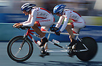 Alexandre Cloutier (left) of Ste. Foy, Que. and Daniel Chalifour of Lac-des-ecorces, Que. in the road cycling time trials at the Paralympic Games in Beijing, Friday, Sept., 12, 2008. Photo by Mike Ridewood/CPC