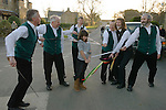Longsword Sword Dance team. Kirkby Malzeard. Yorkshire UK. Performed on Boxing Day December 26th 2008. Traditional ritual beheading of young female at the end of the performance.