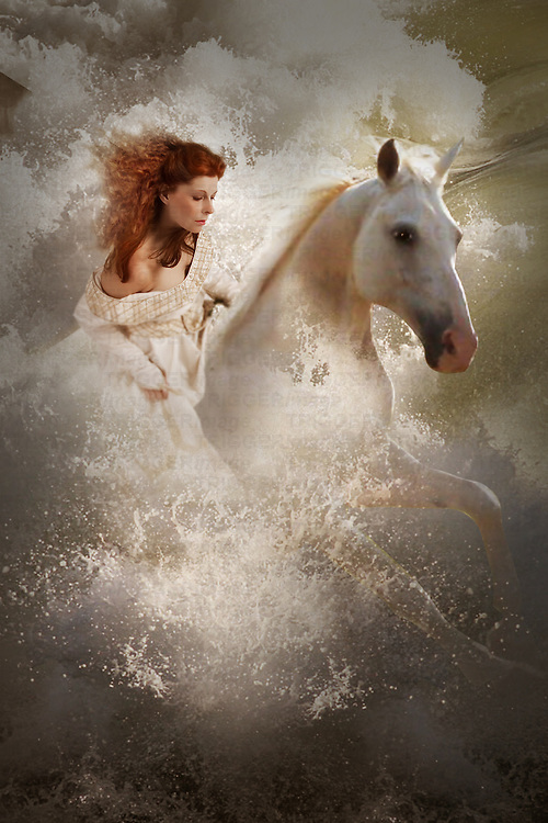 fantasy image of woman on white horse