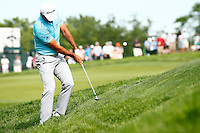 Jason Day hits his second shot on next to the 16th green during the 2016 U.S. Open in Oakmont, Pennsylvania on June 18, 2016. (Photo by Jared Wickerham / DKPS)
