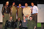 """Guiding Light's Denise Pence """"Katie"""" came to the 7th Anniversary of Layon Gray's """"Black Angels Over Tuskegee"""" - Straighten Up Fly Right - cast - back row: Layon Gray (also wrote and directed it), David Roberts, Anthony Goss, Melvin Huffnagle, Thaddeus Daniels. Front"""" Delano Barbosa, Lamar Cheston, Craig Colasanti on February 10, 2017 at St. Luke's Theatre, New York City, New York. (Photo by Sue Coflin/Max Photos)"""