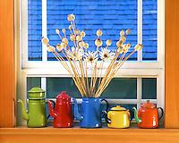 USA, Oregon, Enamelware teapots & coffeepots on window sill in Portland.