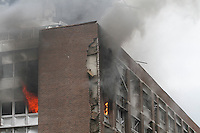 (July22,2010) Smoke billows from government offices where a large vehicle bomb was detonated near the offices of Norwegian Prime Minister Jens Stoltenberg on 22 July 2011. Although Stoltenberg was reportedly unharmed the blast resulted in several injuries and deaths. <br />