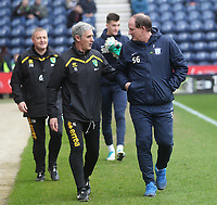 Preston North End's Manager Simon Grayson with Norwich City's Manager Alan Irvine<br /> <br /> Photographer Mick Walker/CameraSport<br /> <br /> The EFL Sky Bet Championship - Preston North End v Norwich City - Monday 17th April 2017 - Deepdale - Preston<br /> <br /> World Copyright &copy; 2017 CameraSport. All rights reserved. 43 Linden Ave. Countesthorpe. Leicester. England. LE8 5PG - Tel: +44 (0) 116 277 4147 - admin@camerasport.com - www.camerasport.com