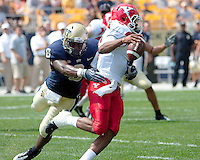 Pitt linebacker Adam Gunn sacks Youngstown State quarterback Brandon Summers. The Pittsburgh Panthers defeated the Youngstown State Penguins 38-3 at Heinz Field on September 5, 2009.