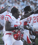 Jacksonville State's Rashad Smith celebrates at Vaught-Hemingway Stadium in Oxford, Miss. on Saturday, September 4, 2010. Jacksonville State won 49-48 over Mississippi in double overtime. (AP Photo/Oxford Eagle, Bruce Newman)