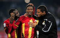 Asamoah Gyan of Ghana celebrates at the final whistle with Kevin Prince Boateng and Kwadwo Asamoah. Ghana defeated the USA 2-1 in overtime in the 2010 FIFA World Cup at Royal Bafokeng Stadium in Rustenburg, South Africa on June 26, 2010.