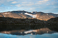 Mountain reflection in lake Blørnbøljønne on Besseggen trail, Jotunheimen naitonal park, Norway