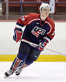 Michael Gergen 28 of the United States warmups prior to playing Sweden.  Team Sweden defeated Team USA Blue 4-3 by winning the shootout on Saturday, August 12, 2006, at the 1980 Rink in Lake Placid, New York in their final game of the US Under-20 Training Camp and Summer Hockey Challenge.