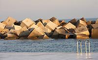Access Ladder to the sea ; Artificial rubbles to stop the waves and offer a calm sea bath, Forum Esplanade, Barcelona, Catalonia, Spain; 2004; José Antonio Martinez Lapeña (Tarragona, Spain, 1941) and Elías Torres Tur (Ibiza, Spain, 1944); Finalist of the European Union Prize for Contemporary Architecture - 2005 Mies Van der Rohe Prize. Picture by Manuel Cohen