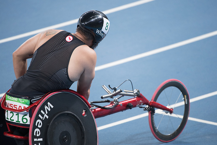RIO DE JANEIRO - 11/9/2016:  Curtis Thom competes in the Men's 400m - T54 Heat at the Olympic Stadium during the Rio 2016 Paralympic Games in Rio de Janeiro, Brazil. (Photo by Matthew Murnaghan/Canadian Paralympic Committee