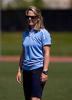 North Carolina head coach Jenny Levy watches her team during the ACC women's lacrosse tournament semifinals in College Park, MD.  North Carolina defeated Duke, 14-4.