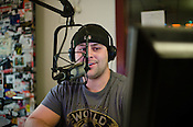 DJ Adam Kincaid in the WKNC studios on the campus of NC State Universiry, Raleigh, NC, 1/28/2011.