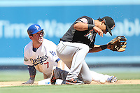 08/26/12 Los Angeles, CA: Los Angeles Dodgers third baseman Nick Punto #7 during an MLB game played between the Los Angeles Dodgers and the Miami Marlins at Dodger Stadium. The Marlins Defeated the Dodgers 6-2