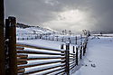 WY00473-00...WYOMING - Fence at Lamar Buffalo Ranch in Yellowstone National Park.
