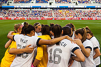 United States (USA) players huddle prior to playing the Korea Republic (KOR). The women's national team of the United States defeated the Korea Republic 5-0 during an international friendly at Red Bull Arena in Harrison, NJ, on June 20, 2013.