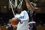 17 February 2013: Duke's Alexis Jones (2) and Wake Forest's Sandra Garcia (right). The Duke University Blue Devils played the Wake Forest University Demon Deacons at Cameron Indoor Stadium in Durham, North Carolina in a 2012-2013 NCAA Division I and Atlantic Coast Conference women's college basketball game. Duke won 81-70.