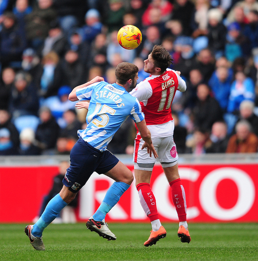 Fleetwood Town&rsquo;s Wes Burns vies for possession with Coventry City's Jack Stephens<br /> <br /> Photographer Chris Vaughan/CameraSport<br /> <br /> Football - The Football League Sky Bet League One - Coventry City v Fleetwood Town - Saturday 27th February 2016 - Ricoh Stadium - Coventry   <br /> <br /> &copy; CameraSport - 43 Linden Ave. Countesthorpe. Leicester. England. LE8 5PG - Tel: +44 (0) 116 277 4147 - admin@camerasport.com - www.camerasport.com