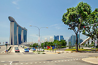 A road leading from the Marina Bay Sands hotel at the point where it intersects with Raffles Avenue.