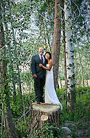 Phuong and Andy make the most of the beautiful Methow Valley setting by posing for a wedding portrait on a huge tree stump. (Photo by Dan DeLong/Red Box Pictures)