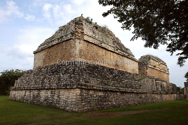 Structure 17 (Rear side), called the Twins, large foundation of 40 meters long, 17 meters wide and 6 meters high upon which two others were built to support two vaulted buildings of four rooms each, Ek Balam (?Black Jaguar? in Maya), flourished during the Late Classic period between 700 and 1200 AD, Yucatan, Mexico. Picture by Manuel Cohen