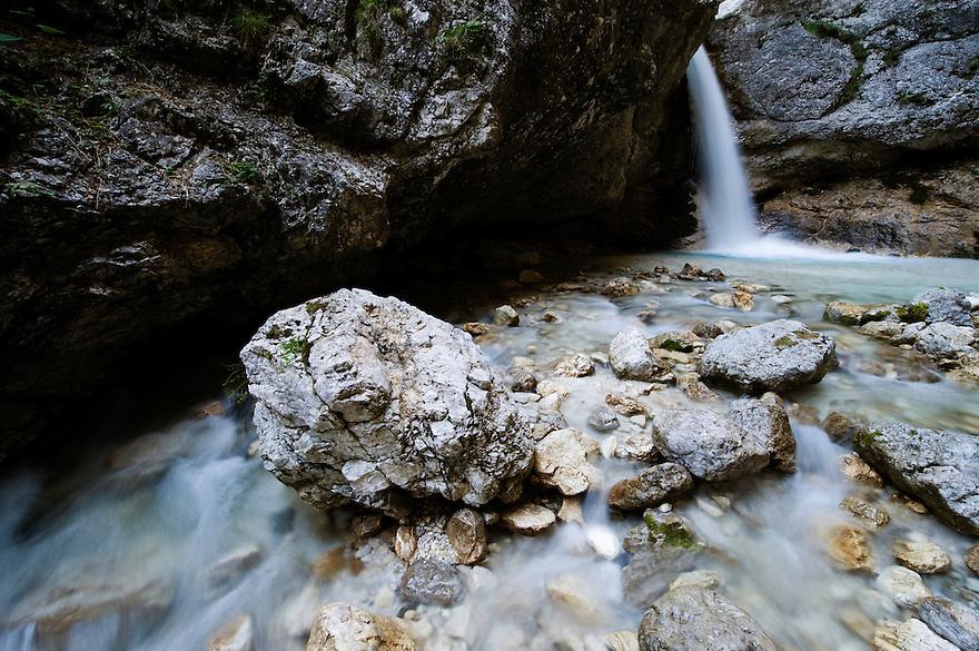 River Mlinarica, (Korita mlinarice, Mlinarica Canyon), water cascades<br /> Triglav National Park, Slovenia<br /> June 2009