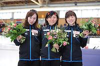 SCHAATSEN: BERLIJN: Sportforum Berlin, 05-03-2016, WK Allround, Podium Ladies 500m, Misaka Oshigiri (JPN), Miho Takagi (JPN), Ayaka Kikuchi (JPN), ©foto Martin de Jong