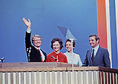 Governor Jimmy Carter (Democrat of Georgia), the 1976 Democratic Party nominee for President of the United States, left, and US Senator Walter Mondale (Democrat of Minnesota), the 1976 Democratic Party nominee for Vice President of the US, right, and their wives Rosalynn Carter, left center, and Joan Mondale, second right, acknowledge the cheers of the delegates following their acceptance speeches at the 1976 Democratic Convention  at Madison Square Garden, New York, New York on July 15, 1976.<br /> Credit: Arnie Sachs / CNP