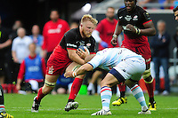 Jackson Wray of Saracens takes on the Racing 92 defence. European Rugby Champions Cup Final, between Saracens and Racing 92 on May 14, 2016 at the Grand Stade de Lyon in Lyon, France. Photo by: Patrick Khachfe / Onside Images