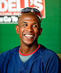 21 August 2009: Washington Nationals' outfielder Nyjer Morgan chats in the dugout prior to a game against the Milwaukee Brewers at Nationals Park in Washington, DC. The Nationals fell to the Brewers 7-3, in the first game of their four-game series. Mandatory Credit: Ed Wolfstein Photo