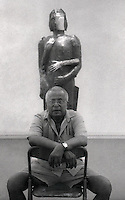 Tissa Ranasinghe at an exhibition of his work at the Lionel Wendt art gallery in Colombo.<br /> March 1999.