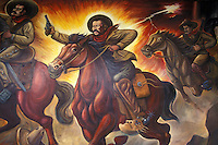 Mural depicting the outlaw and hero of the Mexican Revolution Pancho Villa on horseback, Quinta Luz mansion or Museo de la Revolucion Mexicana in the city of Chihuahua, Mexico.