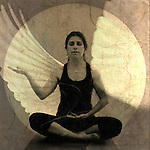 Woman in receptive yoga mudra meditiation pose with wing overlay.