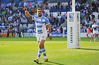 Horacio Agulla of Argentina celebrates with the crowd after the match. Rugby World Cup Pool C match between Argentina and Tonga on October 4, 2015 at Leicester City Stadium in Leicester, England. Photo by: Patrick Khachfe / Onside Images