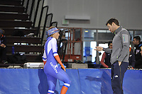 SPEED SKATING: SALT LAKE CITY: 18-11-2015, Utah Olympic Oval, ISU World Cup, training, Janine Smit (NED), Gianni Romme (trainer/coach Team Continu), ©foto Martin de Jong