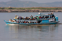 Myanmar, Burma.  Boat on the Ayeyarwady River Carrying People and Cargo to Bagan.