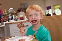 Yum, enjoying an ice cream at Newfield Dairy, Nottinghamshire