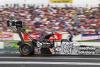 Jun 6, 2015; Englishtown, NJ, USA; NHRA top fuel driver Larry Dixon during qualifying for the Summernationals at Old Bridge Township Raceway Park. Mandatory Credit: Mark J. Rebilas-
