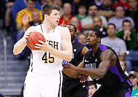 SOUTH BEND, IN - DECEMBER 21: Jack Cooley #45 of the Notre Dame Fighting Irish looks to pass the ball off against the Niagara Purple Eagles at Purcel Pavilion on December 21, 2012 in South Bend, Indiana. (Photo by Michael Hickey/Getty Images) *** Local Caption *** Jack Cooley