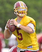 Ashburn, VA - May 2, 2009 -- Quarterback Colt Brennan (5) participates in the 2009 Washington Redskins mini-camp at Redskins Park in Ashburn Virginia on Saturday, May 2, 2008..Credit: Ron Sachs / CNP